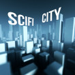 Photo: Scifi city in 3d model of downtown, Architectural creative concept