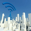 3d Wireless network in miniature city with wifi tower, Concept of communication — Stock Photo #33281449