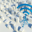 3d Wireless network in miniature city with wifi tower, Concept of communication — Stock Photo #33281461