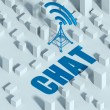 Business with wireless network and wifi tower in city, 3d concept of communication — Stock Photo #33281495