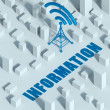 Business with wireless network and wifi tower in city, 3d concept of communication — Stock Photo #33281547