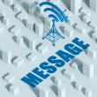 Business with wireless network and wifi tower in city, 3d concept of communication — Stock Photo #33281559
