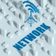 Business with wireless network and wifi tower in city, 3d concept of communication — Stock Photo #33281561