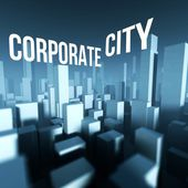 Corporate city in 3d model of downtown, Architectural creative concept — Foto Stock