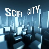 Scifi city in 3d model of downtown, Architectural creative concept — Stockfoto
