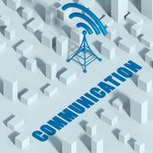 Business with wireless network and wifi tower in city, 3d concept of communication — Stock Photo