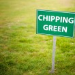 Stock Photo: Chipping green sign, golf course