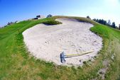 Sand bunker on golf course landscape view — Stock Photo