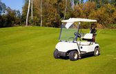 Golfový vozík auto na golfovém hřišti — Stock fotografie