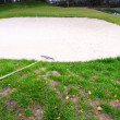 Golf course with sand bunker — Stock Photo