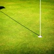 Green grass field of golf course background, cup and flag — Stok fotoğraf