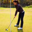 Training Golf club and ball. Preparing to shot — Foto de Stock