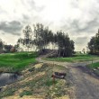 Golf course landscape view vintage style photo — Stock Photo