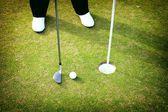 Playing Golf club and ball, Preparing to shot — Stock Photo