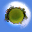 Little tiny planet golf course green field, Small world — Stock Photo