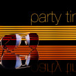 Party time and sunglasses poster colorful lines black background — Stock Photo