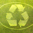 Recycling symbol on green grass poster illustration of eco-friendly life — Photo
