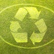 Recycling symbol on green grass poster illustration of eco-friendly life — Стоковая фотография
