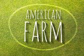 American farm on green grass poster, illustration farming — Stock Photo