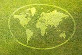 Earth sign on green grass poster illustration of eco-friendly — Stock Photo