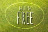 Gluten free on green grass poster illustration of healthy food — Stock Photo