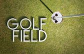 Golf field design background photography and typography — Stock Photo