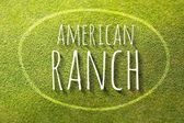 American ranch on green grass poster, illustration farming — Zdjęcie stockowe