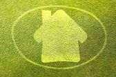 Home symbol on green grass poster illustration of eco-friendly house — Stock Photo