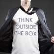 Think outside the box, young successful businessman — Stock Photo #36192713