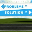 Conceptual direction signs lead to problems or solution — Stock Photo