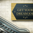 Stock Photo: Moving escalator stairs with new job