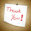 Stock Photo: Note Thank You message on cork board