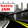 Traffic jam road sign on highway in big city — Stock Photo #38334637