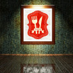 Vintage Menu restaurant poster in frame — Stock Photo #38335701