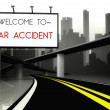 Stock Photo: Welcome to car accident on highway