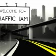 Welcome to traffic jam in conceptual big city — Stock Photo #38336583