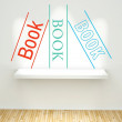 Books concept on wall with book shelf — Stock Photo