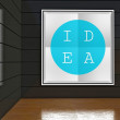 Idea poster in gallery, interior — Stock Photo