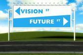 Conceptual direction signs lead to vision or future — Foto de Stock