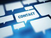 Contact concept, blue communication bubbles — Stock Photo