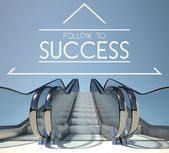 Follow to success concept with stairway — Stock Photo