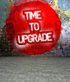 Graffiti wall withTime to upgrade message, urban art — Stock Photo