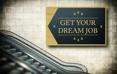 Moving escalator stairs with new job — Stock Photo