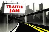 Traffic jam road sign on highway in big city — Foto de Stock