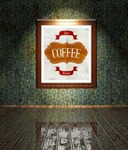 Vintage Coffee restaurant poster in frame old interior — Stock Photo