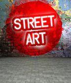 Graffiti wall with Street art, grunge street — Stock Photo