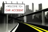 Welcome to car accident on highway — Stock Photo