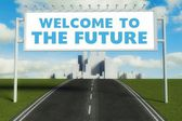Welcome to the future road sign on highway — Foto Stock