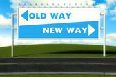 Conceptual direction signs lead to old way or new path — Stock Photo