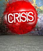 Graffiti wall with Crisis, urban art — Stockfoto